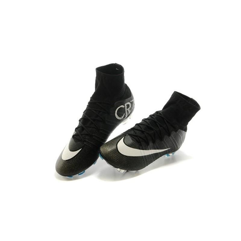 Nouveau Chaussures de Football Nike Mercurial Superfly 4 FG CR Noir Blanc Turquoise