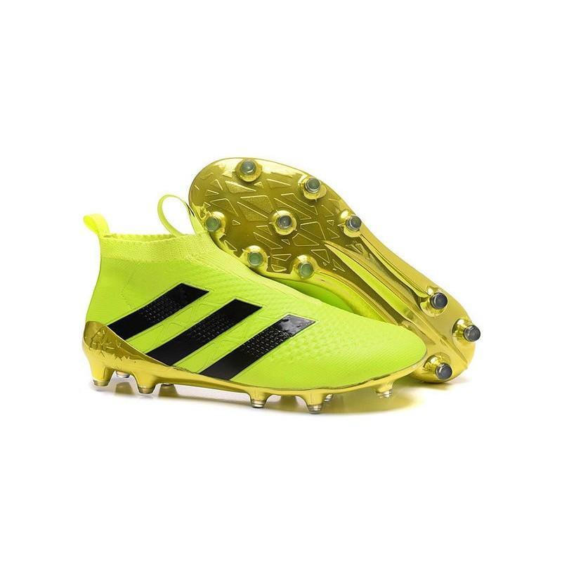 Nouveau Chaussures de Football Adidas Ace16+ Purecontrol FGAG Volt Or Noir