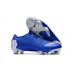 Nouveau Chaussures Football Nike Mercurial Vapor XII Elite FG - Noir Argent Bleu Racer