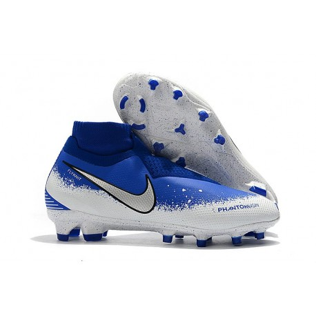 Crampons Nouvelles Nike Phantom Vision Elite DF FG Bleu Blanc Argent