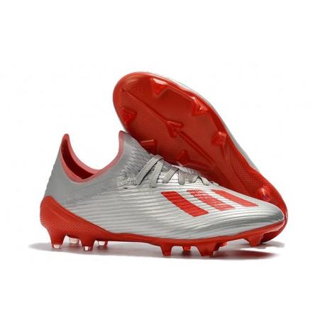Crampons de Football adidas X 19.1 FG Argent Rouge
