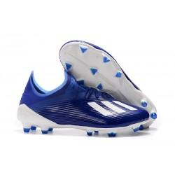 Crampons de Football adidas X 19.1 FG Bleu Blanc