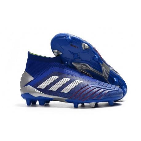 adidas Predator 19+ FG Nouvel Chaussure Bleu Argent