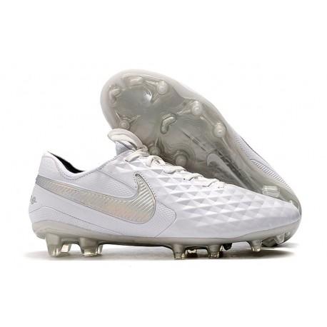 Crampons de Football Nike Tiempo Legend 8 Elite FG Blanc Chrome Platine