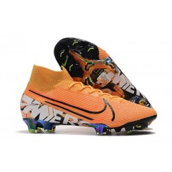 Chaussures Nike Mercurial Superfly VII Elite FG Orange Blanc
