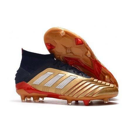 Crampons de Football Adidas Predator 19.1 FG Or Argent Noir