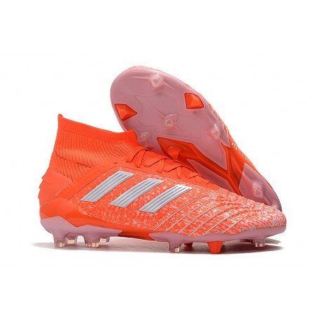 Crampons de Football Adidas Predator 19.1 FG Orange Blanc