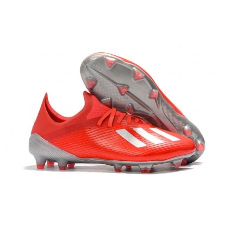 Crampons de Football adidas X 19.1 FG Rouge Argent