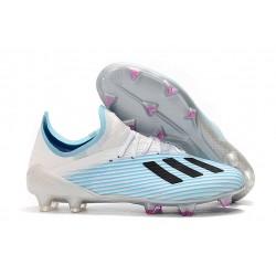 Crampons de Football adidas X 19.1 FG Blanc Bleu Noir