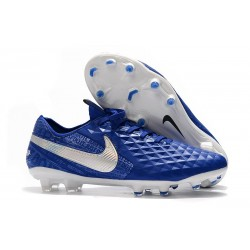 Crampons de Football Nike Tiempo Legend 8 Elite FG Bleu Blanc