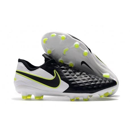 Crampons de Football Nike Tiempo Legend 8 Elite FG Noir Blanc Volt