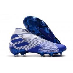 Chaussure adidas Nemeziz 19+ FG Homme - Blanc Bleu