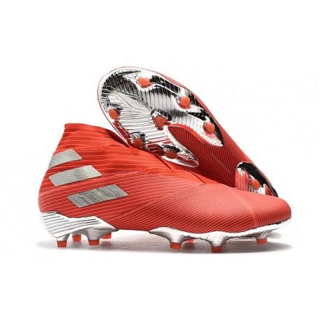 Chaussure adidas Nemeziz 19+ FG Homme - Rouge Argent
