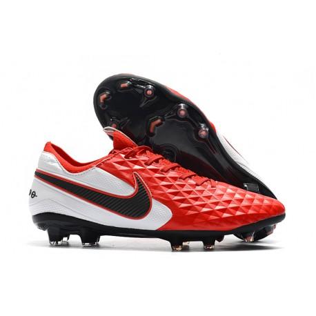 Crampons de Football Nike Tiempo Legend 8 Elite FG Rouge Blanc Noir