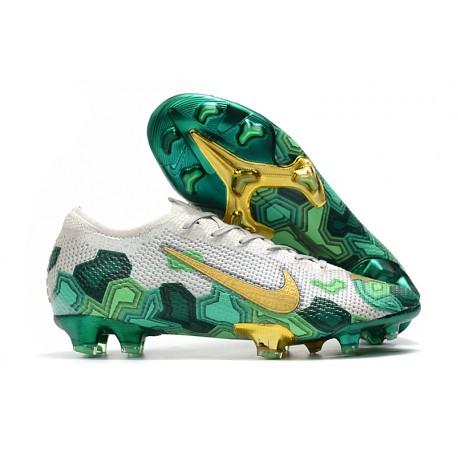 Nike Mercurial Vapor 13 Elite FG ACC Chaussure Mbappe Gris Or Vert