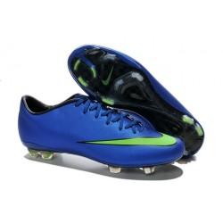Nouvelle Crampons de Football Nike Mercurial Vapor X FG Bleu Vert