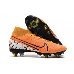 Nike Mercurial Superfly VII Elite DF SG-Pro Anti Clog Orange Blanc Noir