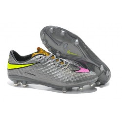 2014 Nike Hypervenom Phantom FG Chaussure de Football Argent Or Slime Rose