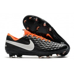 Crampons de Football Nike Tiempo Legend 8 Elite FG Noir Blanc Orange