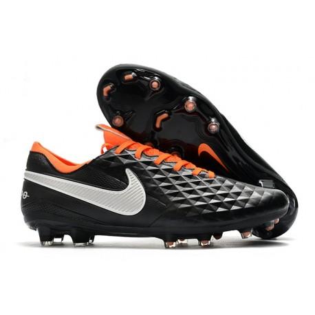 Crampons de Football Nike Tiempo Legend 8 Elite FG Noir Blanc Orange