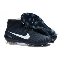2014 Chaussure de Football Nike Magista Obra FG Bleu Marine Blanc