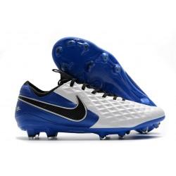 Chaussure de foot Nike Tiempo Legend VIII Elite FG Blanc Bleu