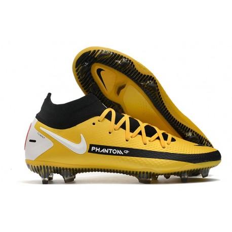 Chaussures Neuf Nike Phantom GT Elite Dynamic Fit FG Jaune Noir Blanc