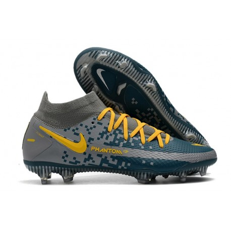 Chaussures Neuf Nike Phantom GT Elite Dynamic Fit FG Gris Bleu Jaune