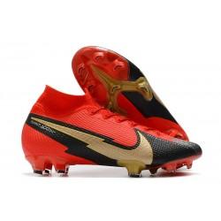 Chaussure Nike Mercurial Superfly VII Elite FG Rouge Noir Or