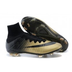 Coupe du monde 2014 Chaussures Nike Mercurial Superfly FG CR7 Or Noir