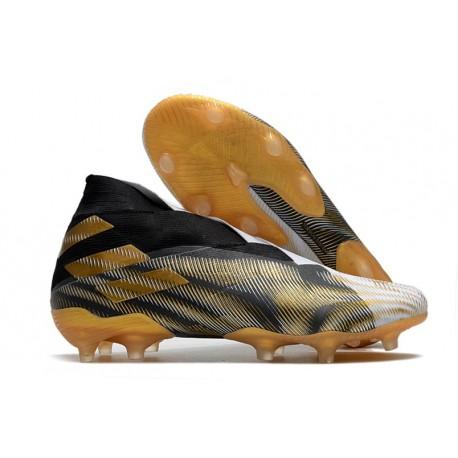 adidas Nemeziz 19+ FG Crampons Football Blanc Or Metallique Noir