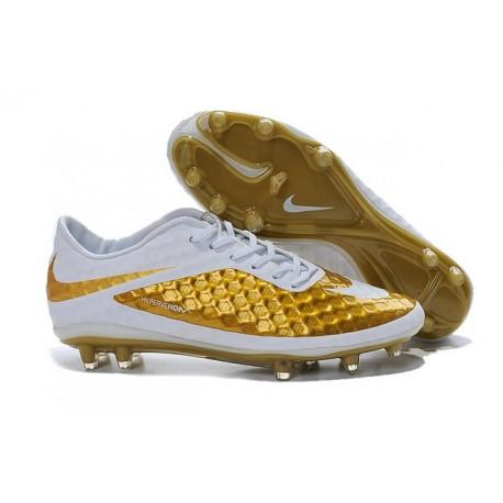 Chaussures Football Nike Hypervenom Phantom FG Premium Or Blanc