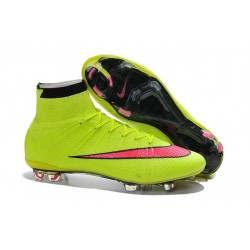 Nouveau Chaussures de Football Nike Mercurial Superfly 4 FG Volt Hyper Rose Noir