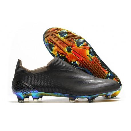Chaussures football adidas X Ghosted+ FG Superstealth - Noir Bleu cyan