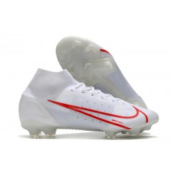 Nike Mercurial Superfly 8 Elite FG Homme Blanc Rouge