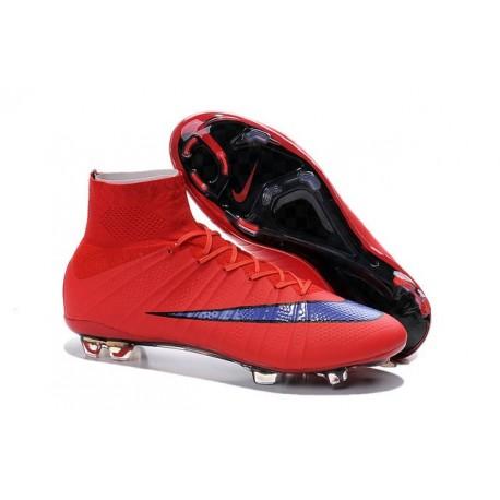 Nouveau Chaussures de Football Nike Mercurial Superfly 4 FG Rouge Vif Violet Persan Noir