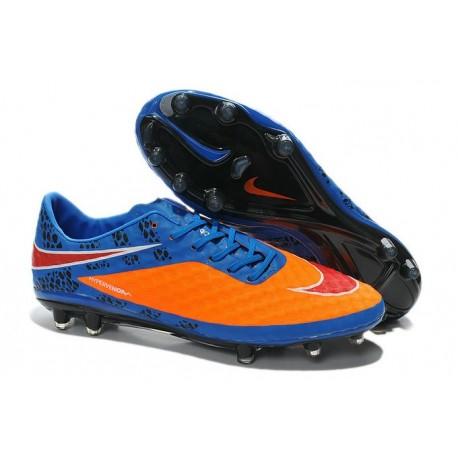 Chaussures Football Nike Hypervenom Phantom FG Orange Bleu Rouge Pack de Réflexion