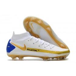 Chaussures Nike Phantom GT Elite DF FG Blanc Or Bleu