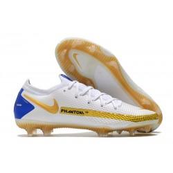 Chaussure Nike Phantom GT Elite FG Blanc Bleu Or