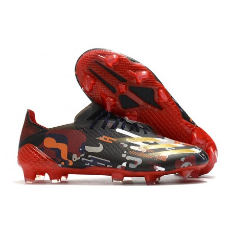 Crampon adidas X Ghosted.1 FG Noir Rouge Or