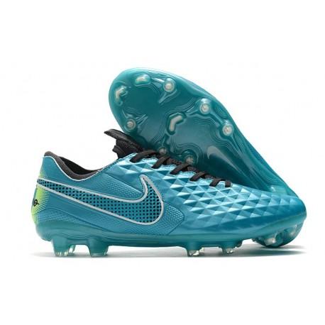 Chaussure de foot Nike Tiempo Legend VIII Elite FG Aquamarine Blanc Vert Citron