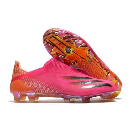 Chaussures de football adidas X Ghosted+ FG Rose Choc Noir Orange