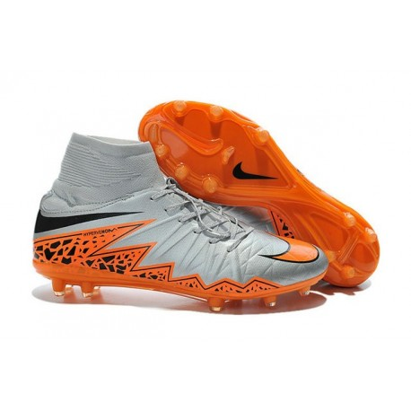 2015 Bottes Nike HyperVenom Phantom II FG Football Loup Gris Orange Noir