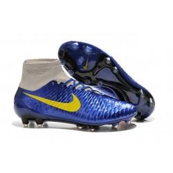 2015 Chaussure de Football Nike Magista Obra FG Marine Bleu Gris Jaune