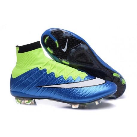 Nouveau Chaussures de Football Nike Mercurial Superfly 4 FG Blue Volt Blanc Noir