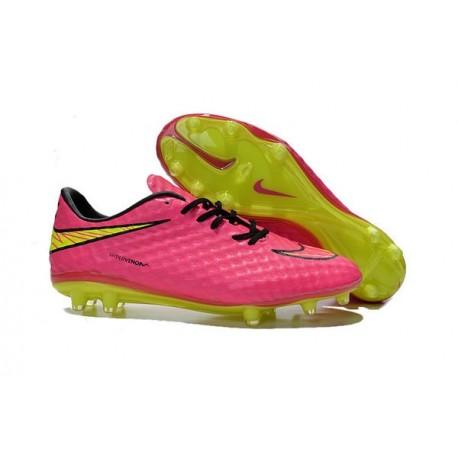 Chaussures de Football Nike Hypervenom Phantom FG Hommes Rose Blanc Noir