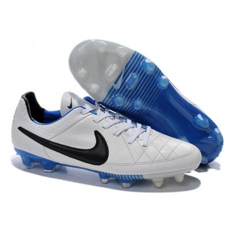 Nouveau Crampons Nike Tiempo Legend V FG Hommes Blanc Noir Bleu Pack de Réflexion