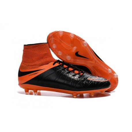 Nike HyperVenom Phantom II FG Football Crampons Cuir FG Noir Orange Total