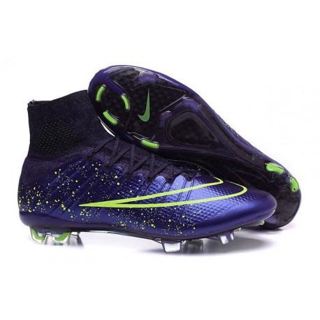 Nouveau Chaussures de Football Nike Mercurial Superfly 4 FG Cuir Vert Violet