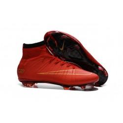 Nouveau Chaussures de Football Nike Mercurial Superfly 4 FG Rouge Noir Or